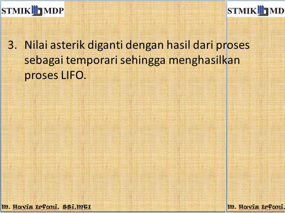 3.Nilai asterik diganti dengan hasil dari proses sebagai temporari sehingga menghasilkan proses LIFO.
