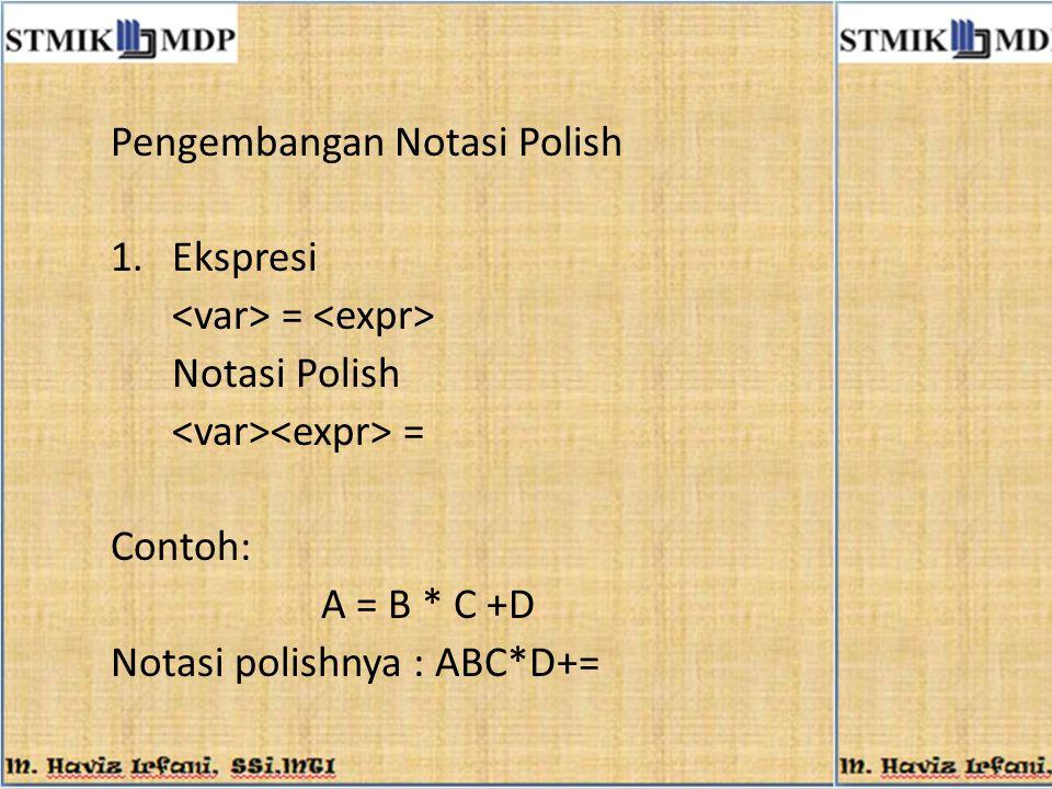 Pengembangan Notasi Polish 1.Ekspresi = Notasi Polish = Contoh: A = B * C +D Notasi polishnya : ABC*D+=