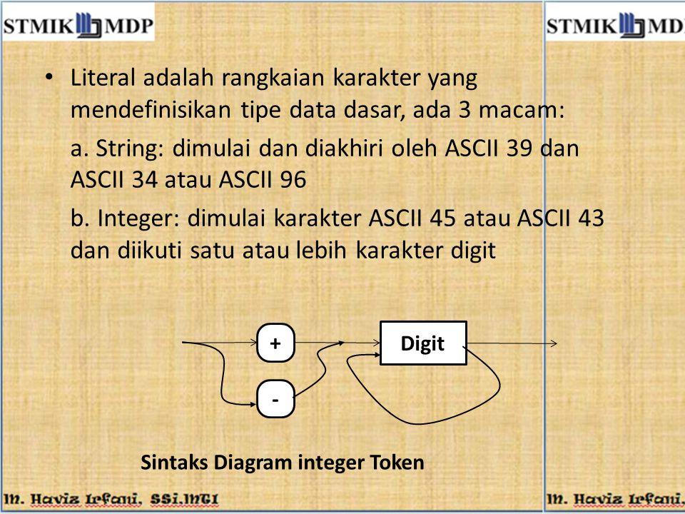 Literal adalah rangkaian karakter yang mendefinisikan tipe data dasar, ada 3 macam: a. String: dimulai dan diakhiri oleh ASCII 39 dan ASCII 34 atau AS