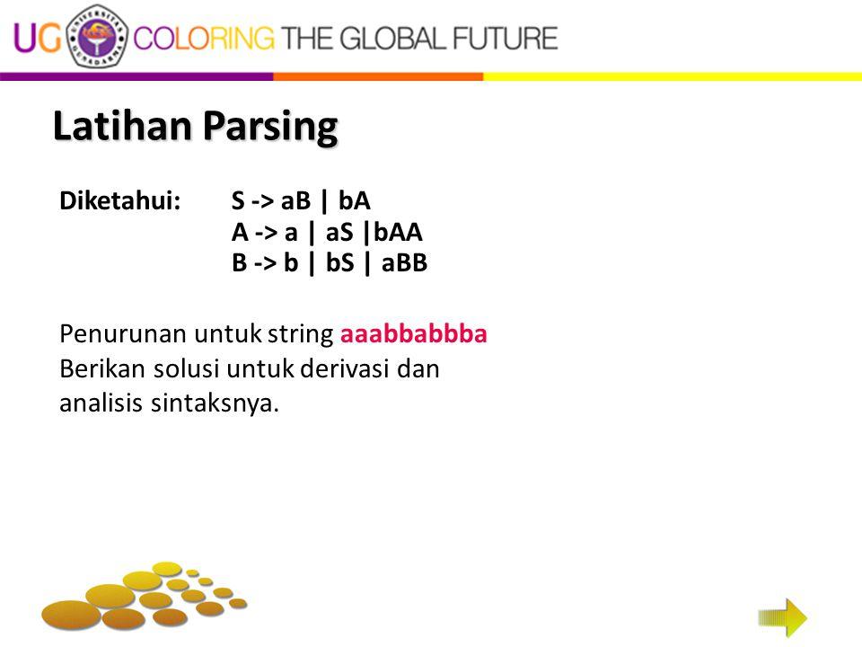 Latihan Parsing Diketahui: S -> aB | bA A -> a | aS |bAA B -> b | bS | aBB Penurunan untuk string aaabbabbba Berikan solusi untuk derivasi dan analisi