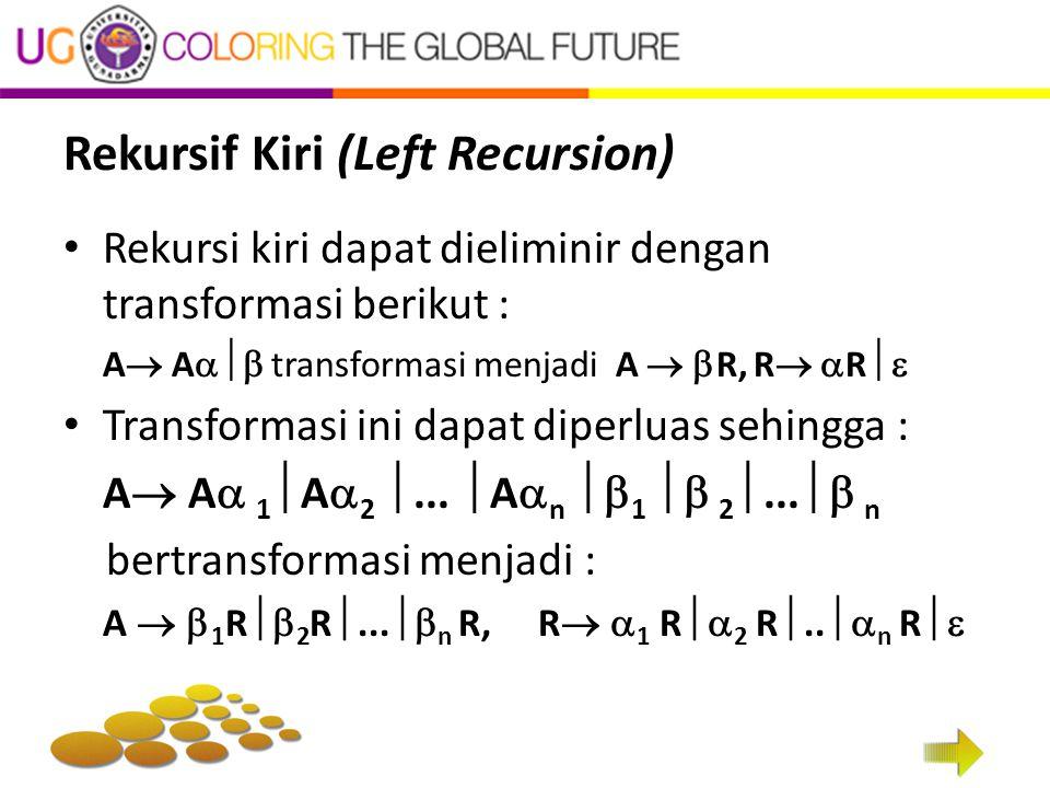 Rekursif Kiri (Left Recursion) Rekursi kiri dapat dieliminir dengan transformasi berikut : A  A  transformasi menjadi A   R, R   R  Transformasi ini dapat diperluas sehingga : A  A  1  A  2 ...