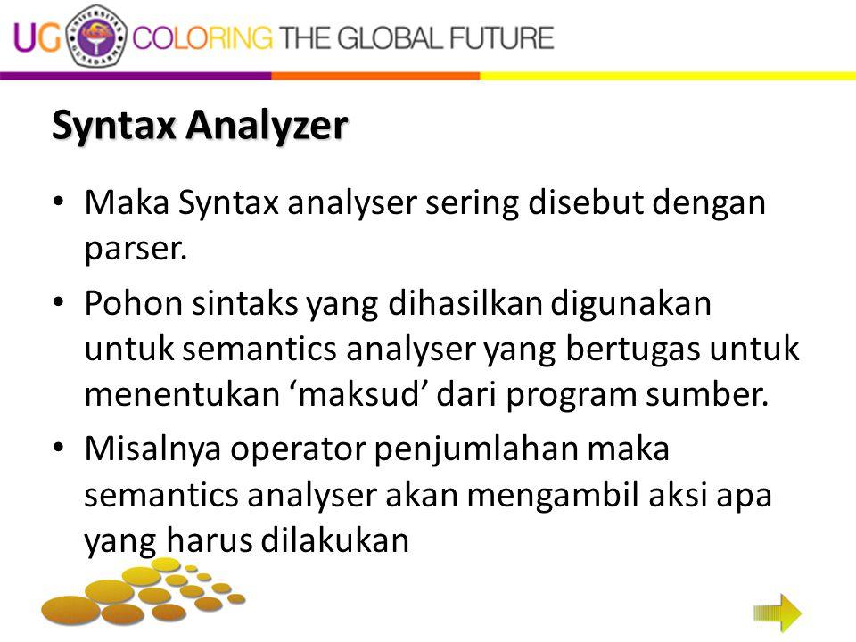 Syntax Analyzer Maka Syntax analyser sering disebut dengan parser. Pohon sintaks yang dihasilkan digunakan untuk semantics analyser yang bertugas untu