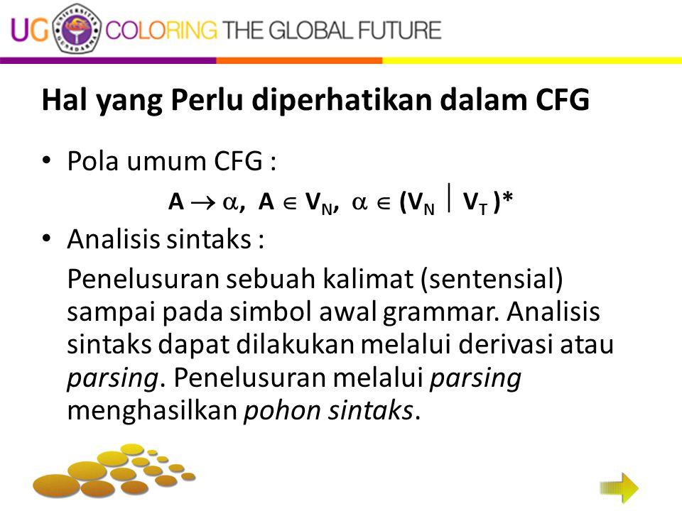 Hal yang Perlu diperhatikan dalam CFG Pola umum CFG : A  , A  V N,   (V N  V T )* Analisis sintaks : Penelusuran sebuah kalimat (sentensial) sampai pada simbol awal grammar.