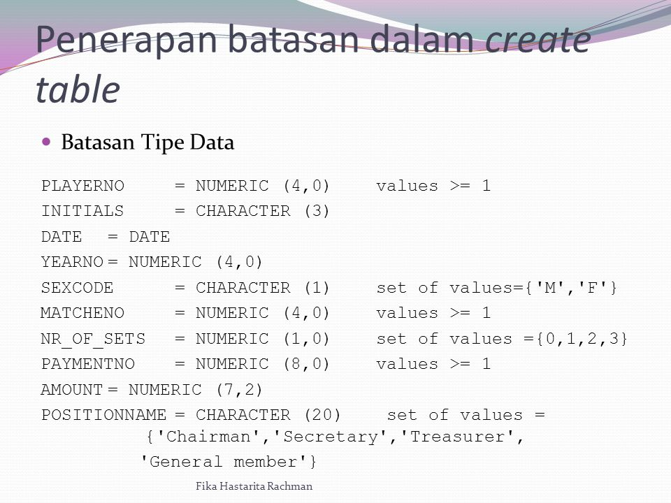 Penerapan batasan dalam create table Batasan Tipe Data PLAYERNO= NUMERIC (4,0)values >= 1 INITIALS= CHARACTER (3) DATE= DATE YEARNO= NUMERIC (4,0) SEXCODE= CHARACTER (1)set of values={ M , F } MATCHENO= NUMERIC (4,0)values >= 1 NR_OF_SETS= NUMERIC (1,0)set of values ={0,1,2,3} PAYMENTNO= NUMERIC (8,0)values >= 1 AMOUNT= NUMERIC (7,2) POSITIONNAME= CHARACTER (20) set of values = { Chairman , Secretary , Treasurer , General member } Fika Hastarita Rachman