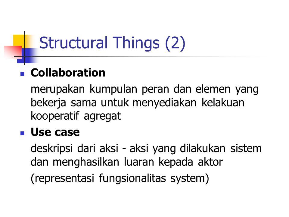 Structural Things (2) Collaboration merupakan kumpulan peran dan elemen yang bekerja sama untuk menyediakan kelakuan kooperatif agregat Use case deskr
