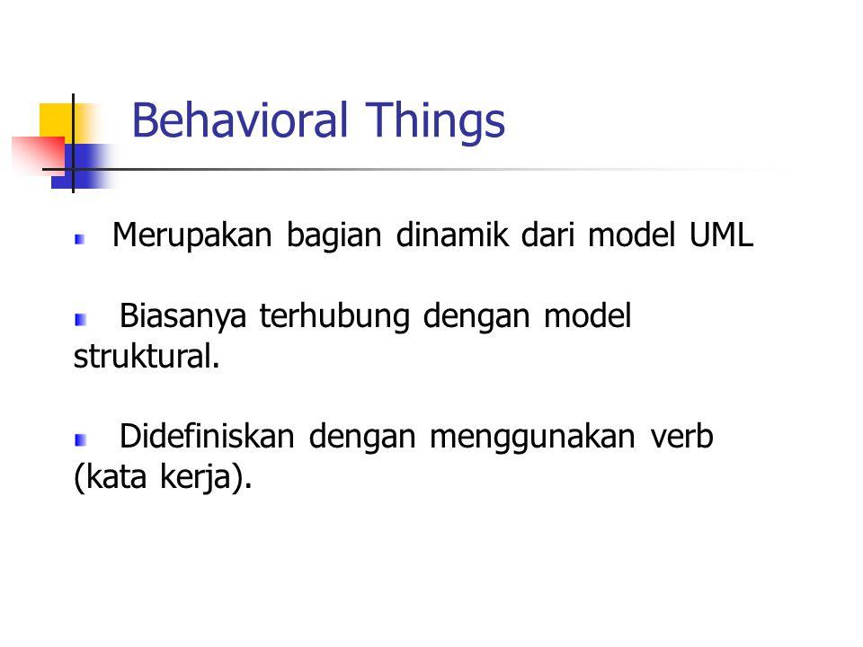 Behavioral Things Merupakan bagian dinamik dari model UML Biasanya terhubung dengan model struktural. Didefiniskan dengan menggunakan verb (kata kerja