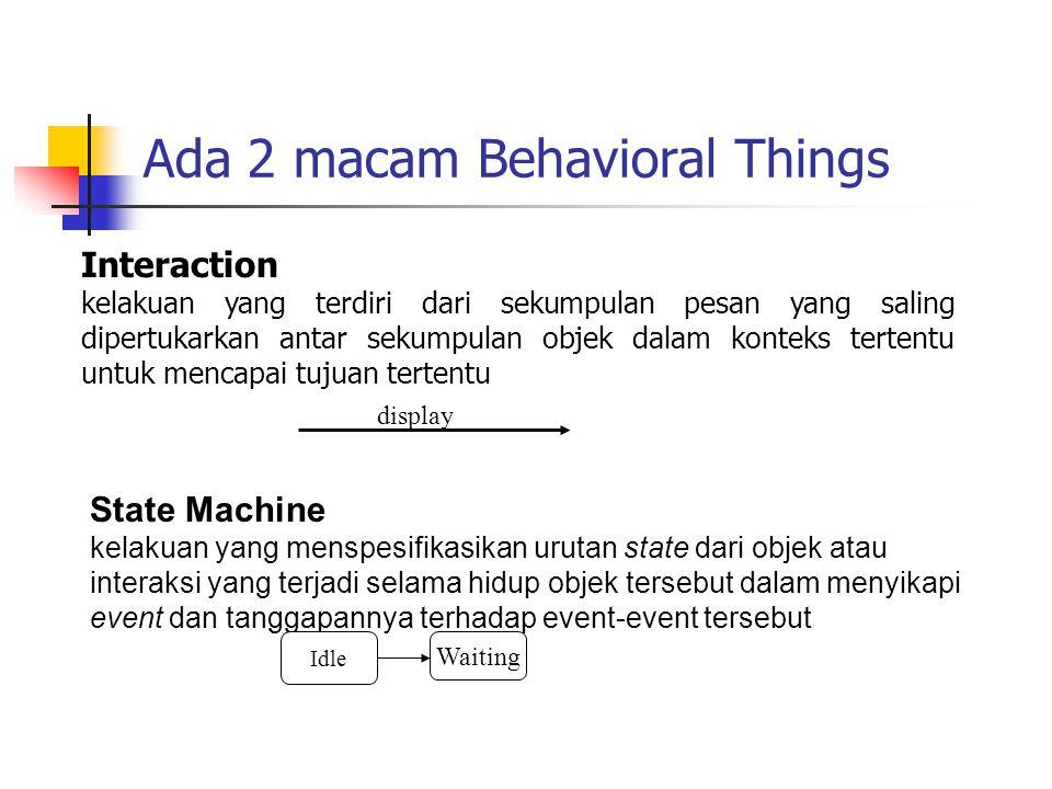 Ada 2 macam Behavioral Things Interaction kelakuan yang terdiri dari sekumpulan pesan yang saling dipertukarkan antar sekumpulan objek dalam konteks t