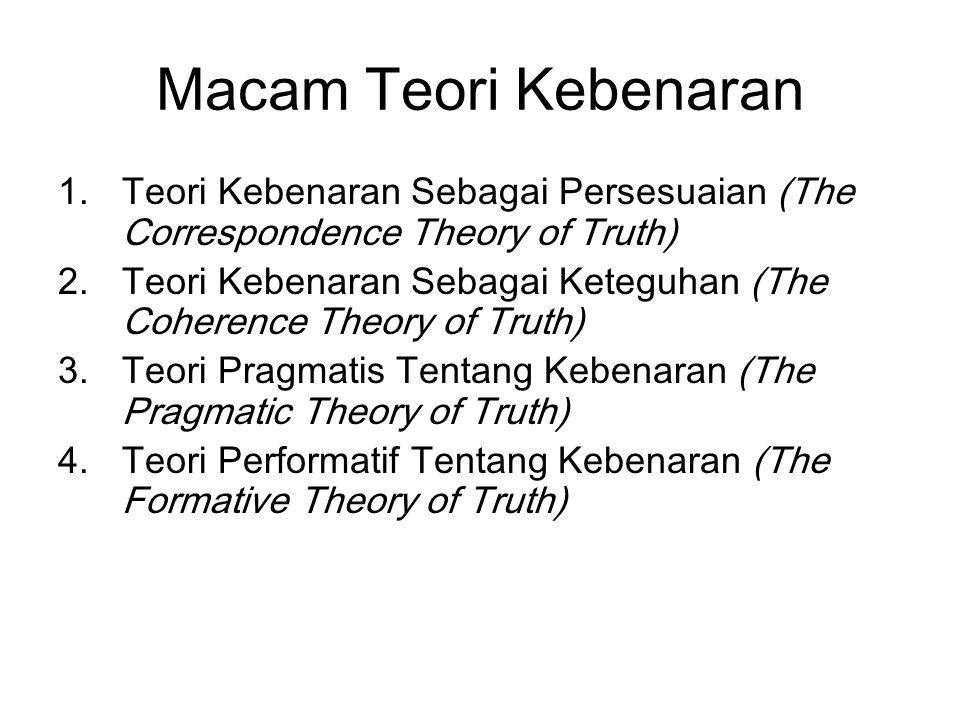 Macam Teori Kebenaran 1.Teori Kebenaran Sebagai Persesuaian (The Correspondence Theory of Truth) 2.Teori Kebenaran Sebagai Keteguhan (The Coherence Th