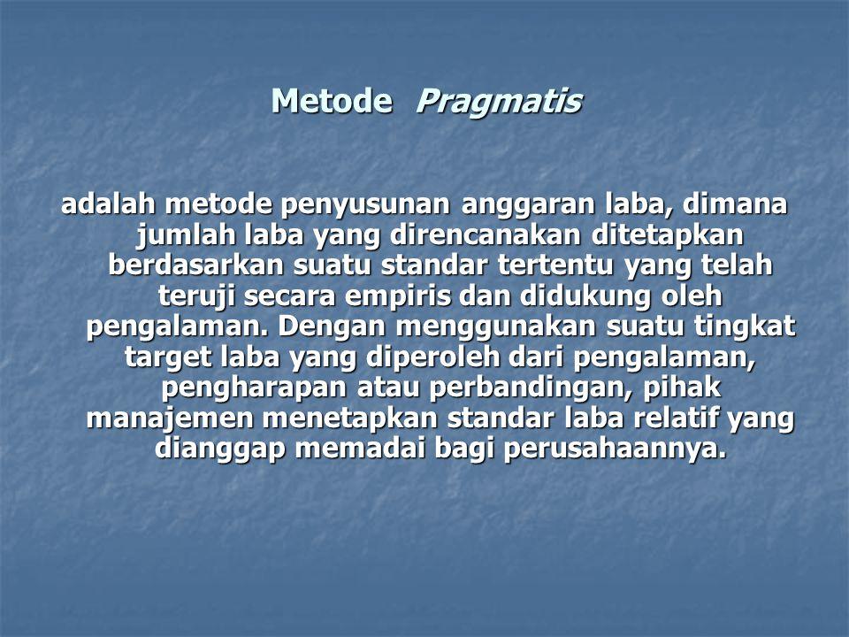 Metode Pragmatis adalah metode penyusunan anggaran laba, dimana jumlah laba yang direncanakan ditetapkan berdasarkan suatu standar tertentu yang telah