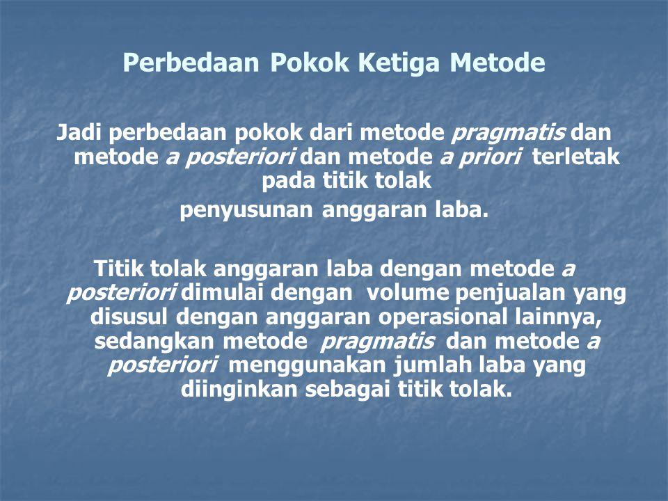 Perbedaan Pokok Ketiga Metode Jadi perbedaan pokok dari metode pragmatis dan metode a posteriori dan metode a priori terletak pada titik tolak penyusu