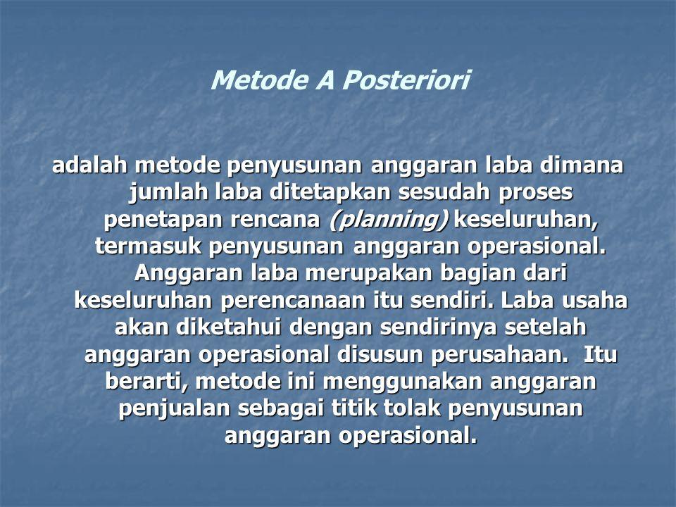 Metode A Posteriori adalah metode penyusunan anggaran laba dimana jumlah laba ditetapkan sesudah proses penetapan rencana (planning) keseluruhan, term