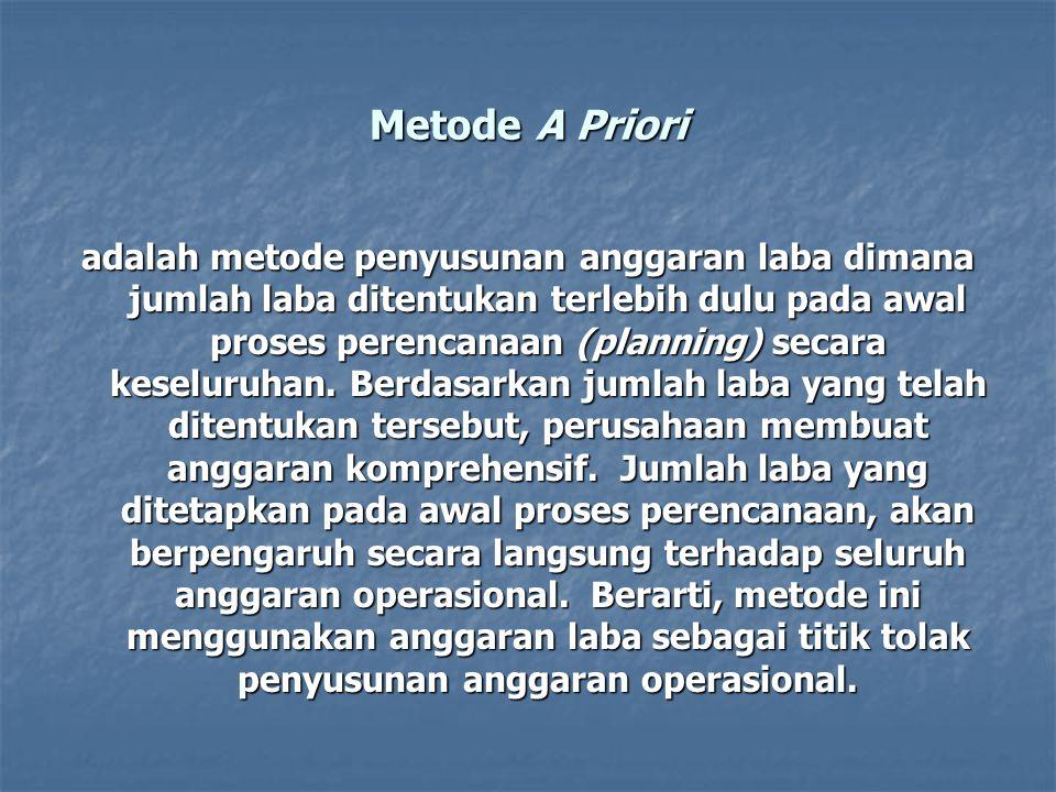 Metode A Priori adalah metode penyusunan anggaran laba dimana jumlah laba ditentukan terlebih dulu pada awal proses perencanaan (planning) secara kese