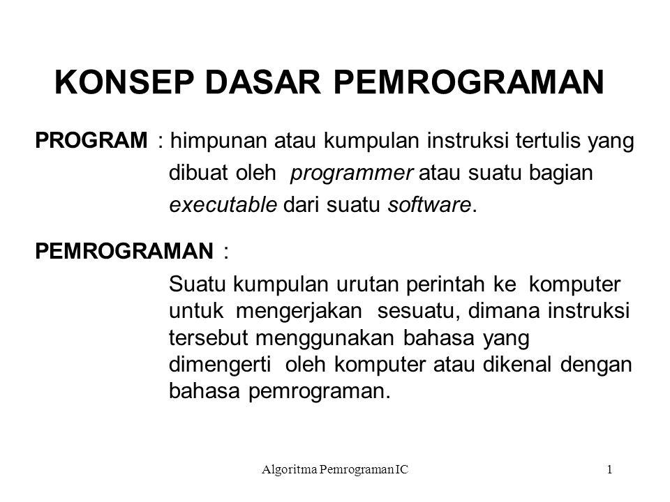 Algoritma Pemrograman IC1 KONSEP DASAR PEMROGRAMAN PROGRAM : himpunan atau kumpulan instruksi tertulis yang dibuat oleh programmer atau suatu bagian executable dari suatu software.