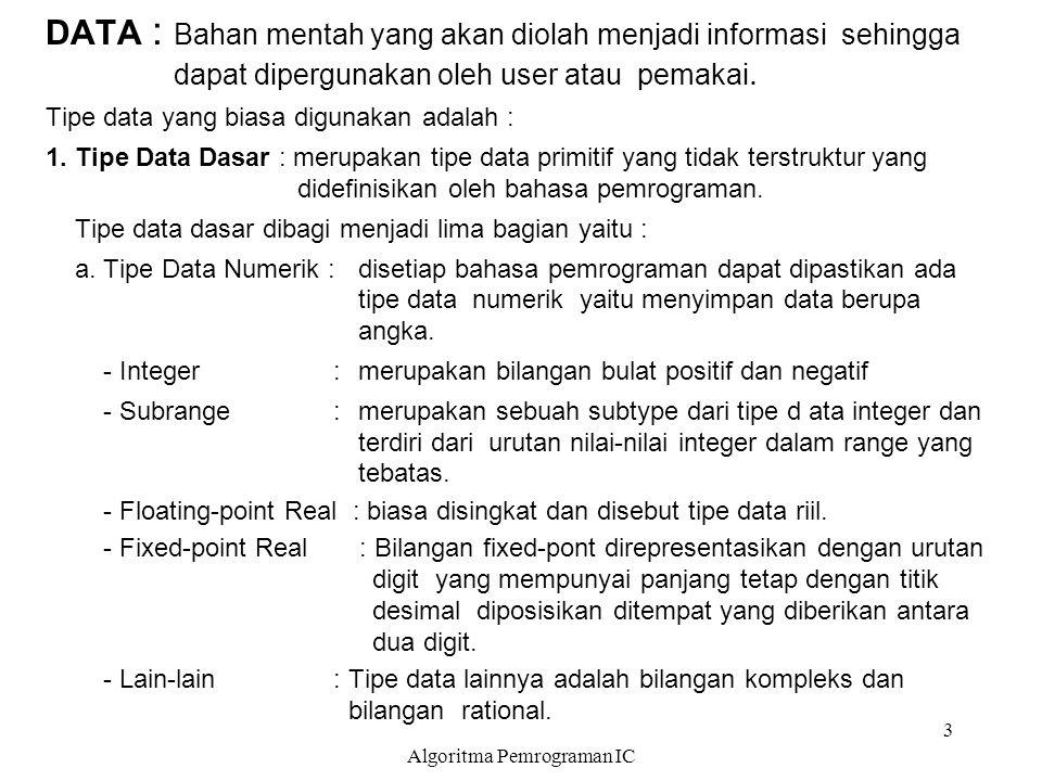 Algoritma Pemrograman IC 3 DATA : Bahan mentah yang akan diolah menjadi informasi sehingga dapat dipergunakan oleh user atau pemakai. Tipe data yang b