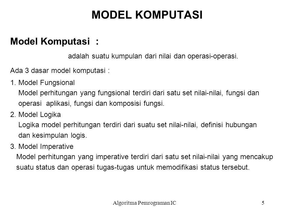 Algoritma Pemrograman IC5 MODEL KOMPUTASI Model Komputasi : adalah suatu kumpulan dari nilai dan operasi-operasi. Ada 3 dasar model komputasi : 1. Mod