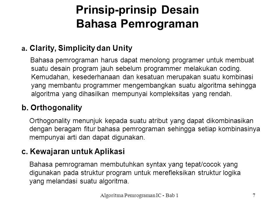 Algoritma Pemrograman IC - Bab 17 Prinsip-prinsip Desain Bahasa Pemrograman a. Clarity, Simplicity dan Unity Bahasa pemrograman harus dapat menolong p