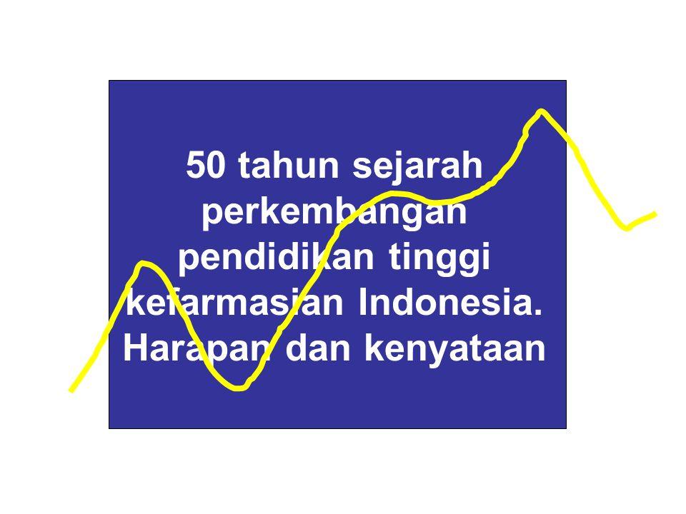 50 tahun sejarah perkembangan pendidikan tinggi kefarmasian Indonesia. Harapan dan kenyataan
