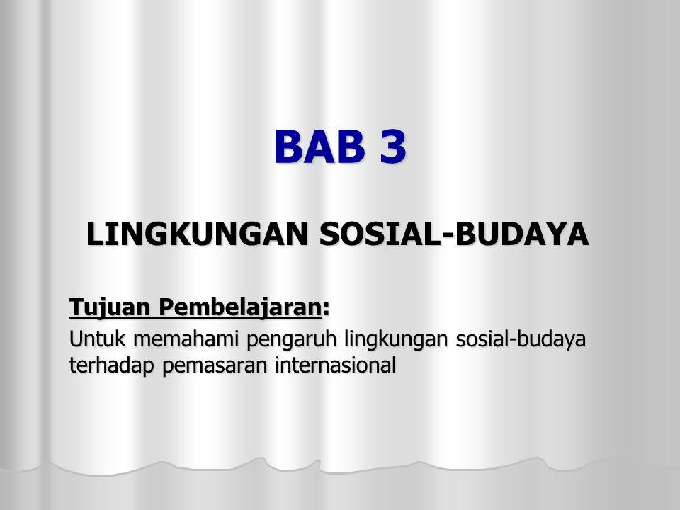 BAB 3 LINGKUNGAN SOSIAL-BUDAYA Tujuan Pembelajaran: Untuk memahami pengaruh lingkungan sosial-budaya terhadap pemasaran internasional