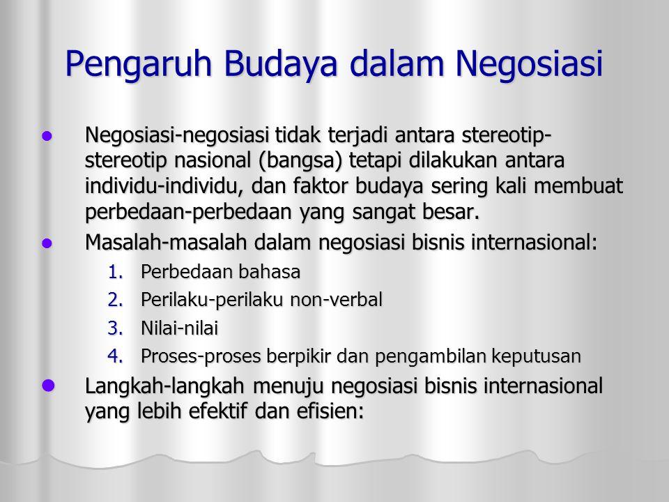 Pengaruh Budaya dalam Negosiasi Negosiasi-negosiasi tidak terjadi antara stereotip- stereotip nasional (bangsa) tetapi dilakukan antara individu-indiv