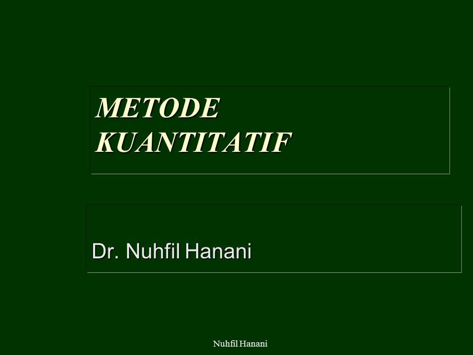 Nuhfil Hanani METODE KUANTITATIF Dr. Nuhfil Hanani