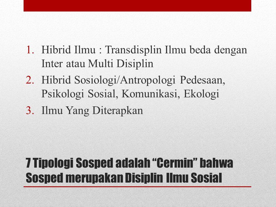 """7 Tipologi Sosped adalah """"Cermin"""" bahwa Sosped merupakan Disiplin Ilmu Sosial 1.Hibrid Ilmu : Transdisplin Ilmu beda dengan Inter atau Multi Disiplin"""