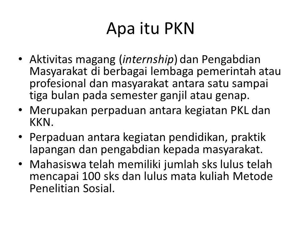 Apa itu PKN Aktivitas magang (internship) dan Pengabdian Masyarakat di berbagai lembaga pemerintah atau profesional dan masyarakat antara satu sampai