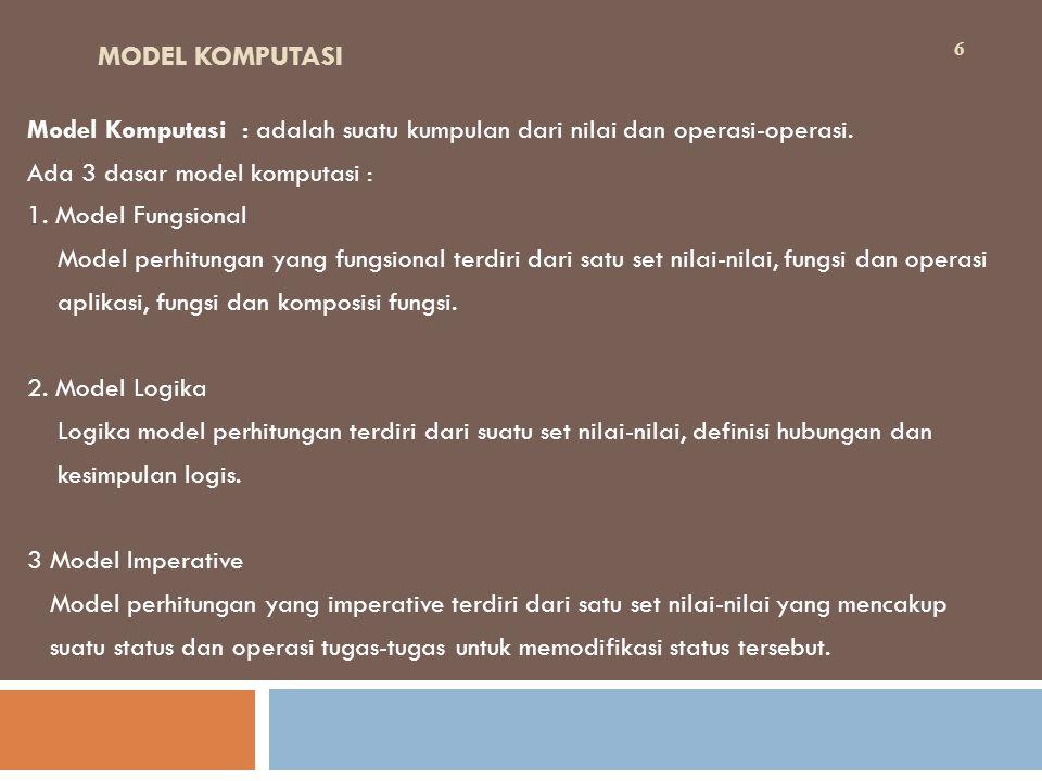 MODEL KOMPUTASI Model Komputasi : adalah suatu kumpulan dari nilai dan operasi-operasi.