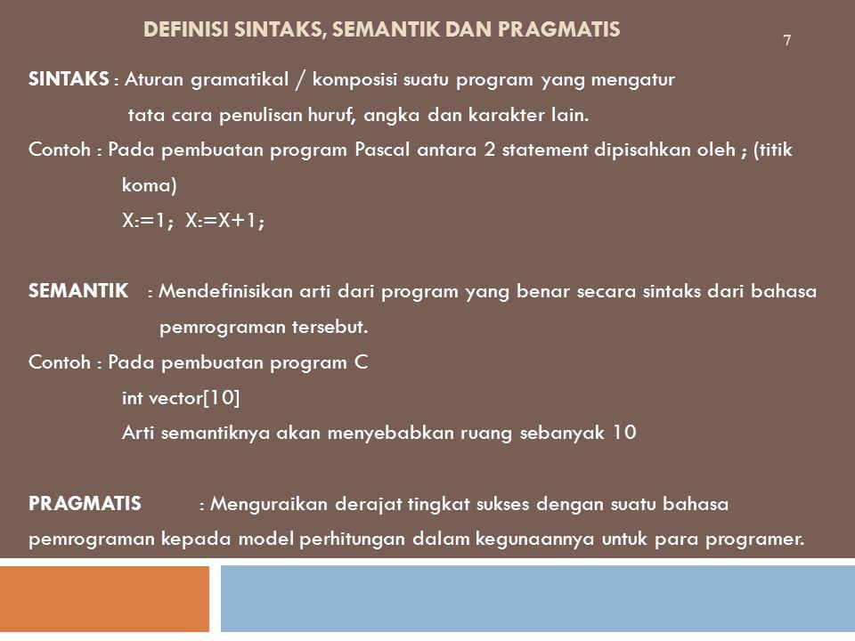 DEFINISI SINTAKS, SEMANTIK DAN PRAGMATIS SINTAKS: Aturan gramatikal / komposisi suatu program yang mengatur tata cara penulisan huruf, angka dan karakter lain.