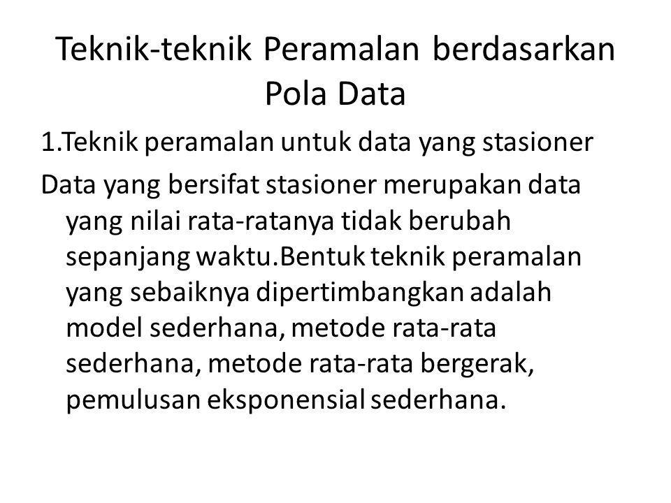 Teknik-teknik Peramalan berdasarkan Pola Data 1.Teknik peramalan untuk data yang stasioner Data yang bersifat stasioner merupakan data yang nilai rata