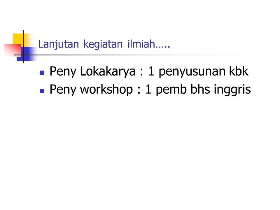 Lanjutan kegiatan ilmiah….. Peny Lokakarya : 1 penyusunan kbk Peny workshop : 1 pemb bhs inggris
