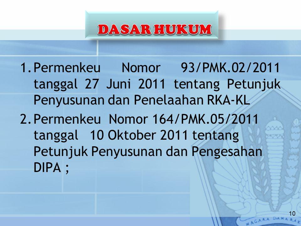 1.Permenkeu Nomor 93/PMK.02/2011 tanggal 27 Juni 2011 tentang Petunjuk Penyusunan dan Penelaahan RKA-KL 2.Permenkeu Nomor 164/PMK.05/2011 tanggal 10 Oktober 2011 tentang Petunjuk Penyusunan dan Pengesahan DIPA ; 10