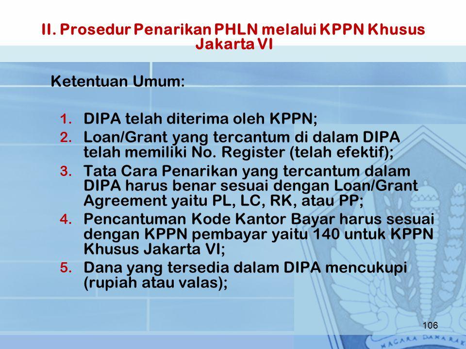 II.Prosedur Penarikan PHLN melalui KPPN Khusus Jakarta VI Ketentuan Umum: 1.