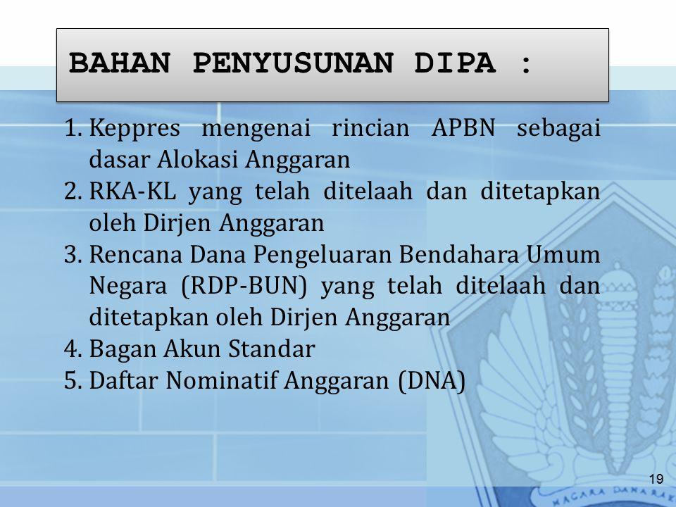 BAHAN PENYUSUNAN DIPA : 1.Keppres mengenai rincian APBN sebagai dasar Alokasi Anggaran 2.RKA-KL yang telah ditelaah dan ditetapkan oleh Dirjen Anggaran 3.Rencana Dana Pengeluaran Bendahara Umum Negara (RDP-BUN) yang telah ditelaah dan ditetapkan oleh Dirjen Anggaran 4.Bagan Akun Standar 5.Daftar Nominatif Anggaran (DNA) 19