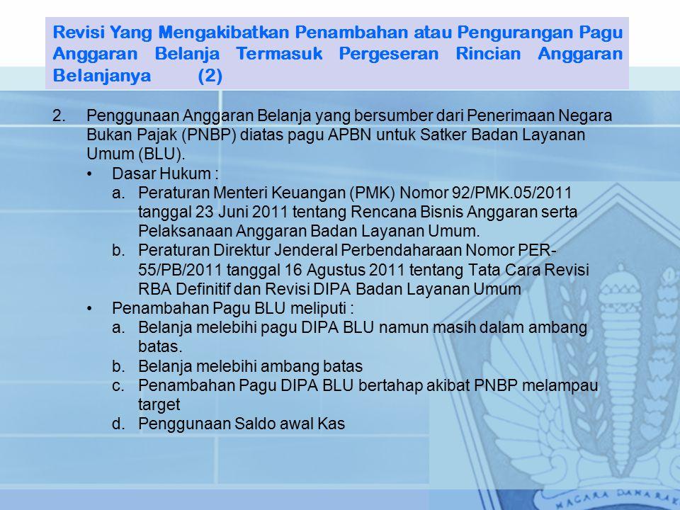 2.Penggunaan Anggaran Belanja yang bersumber dari Penerimaan Negara Bukan Pajak (PNBP) diatas pagu APBN untuk Satker Badan Layanan Umum (BLU).
