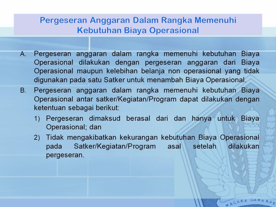 A. Pergeseran anggaran dalam rangka memenuhi kebutuhan Biaya Operasional dilakukan dengan pergeseran anggaran dari Biaya Operasional maupun kelebihan