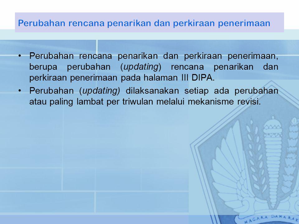 Perubahan rencana penarikan dan perkiraan penerimaan, berupa perubahan (updating) rencana penarikan dan perkiraan penerimaan pada halaman III DIPA.