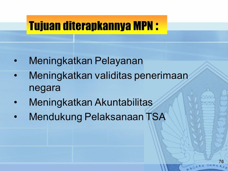 Meningkatkan Pelayanan Meningkatkan validitas penerimaan negara Meningkatkan Akuntabilitas Mendukung Pelaksanaan TSA Tujuan diterapkannya MPN : 76