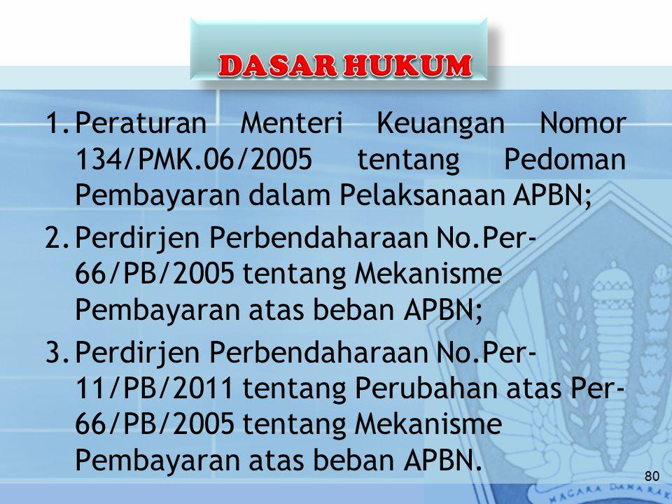 1.Peraturan Menteri Keuangan Nomor 134/PMK.06/2005 tentang Pedoman Pembayaran dalam Pelaksanaan APBN; 2.Perdirjen Perbendaharaan No.Per- 66/PB/2005 tentang Mekanisme Pembayaran atas beban APBN; 3.Perdirjen Perbendaharaan No.Per- 11/PB/2011 tentang Perubahan atas Per- 66/PB/2005 tentang Mekanisme Pembayaran atas beban APBN.