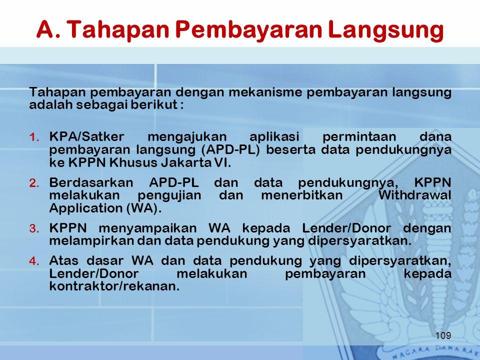 A. Tahapan Pembayaran Langsung Tahapan pembayaran dengan mekanisme pembayaran langsung adalah sebagai berikut : 1. KPA/Satker mengajukan aplikasi perm