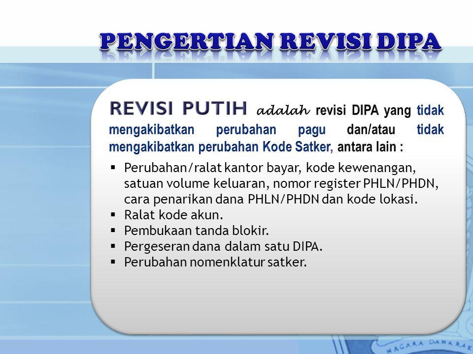  Perubahan/ralat kantor bayar, kode kewenangan, satuan volume keluaran, nomor register PHLN/PHDN, cara penarikan dana PHLN/PHDN dan kode lokasi.  Ra