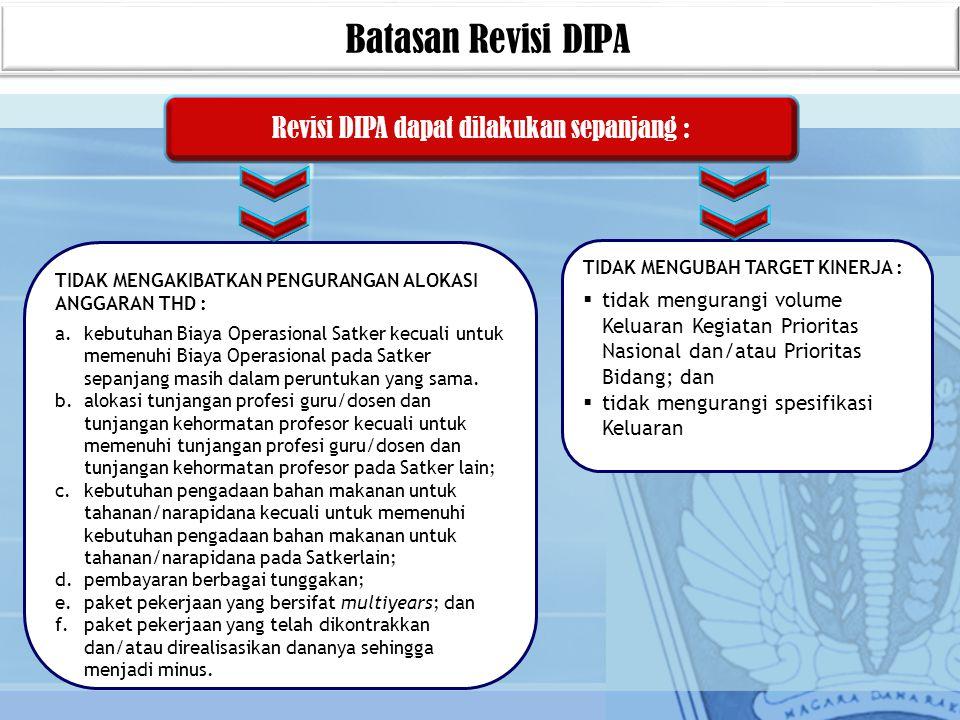 Batasan Revisi DIPA Revisi DIPA dapat dilakukan sepanjang : TIDAK MENGUBAH TARGET KINERJA :  tidak mengurangi volume Keluaran Kegiatan Prioritas Nasi