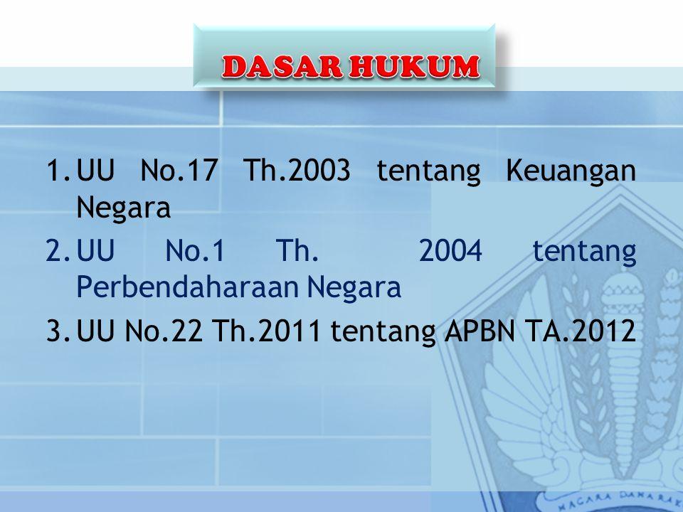 1.UU No.17 Th.2003 tentang Keuangan Negara 2.UU No.1 Th. 2004 tentang Perbendaharaan Negara 3.UU No.22 Th.2011 tentang APBN TA.2012