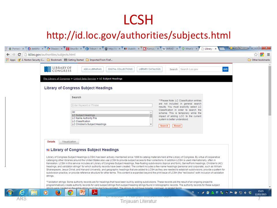 LCSH http://id.loc.gov/authorities/subjects.html ARS LI Modul-1 Karya Akademik dan Tinjauan Literatur 7