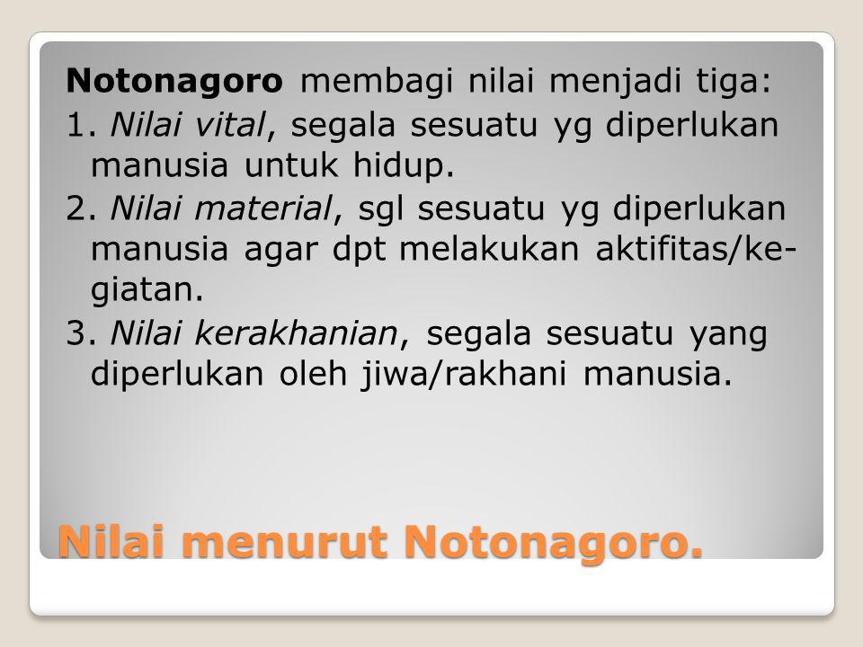 Nilai menurut Notonagoro. Notonagoro membagi nilai menjadi tiga: 1. Nilai vital, segala sesuatu yg diperlukan manusia untuk hidup. 2. Nilai material,