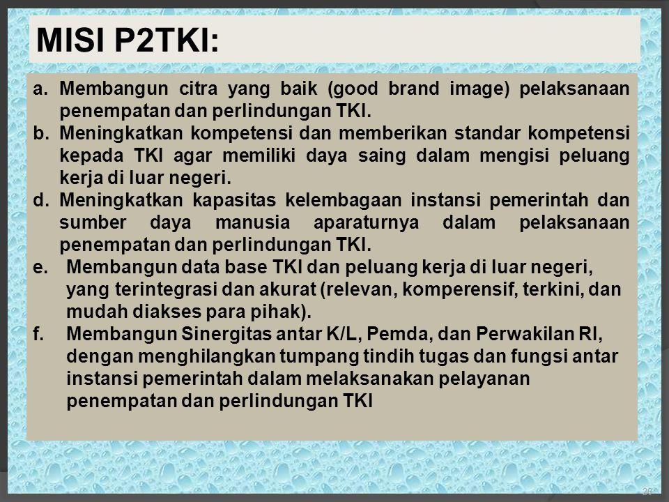 a.Membangun citra yang baik (good brand image) pelaksanaan penempatan dan perlindungan TKI.