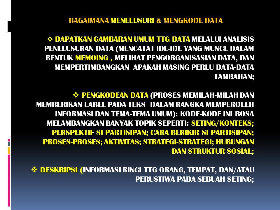 BAGAIMANA MENELUSURI & MENGKODE DATA  DAPATKAN GAMBARAN UMUM TTG DATA MELALUI ANALISIS PENELUSURAN DATA (MENCATAT IDE-IDE YANG MUNCL DALAM BENTUK MEM