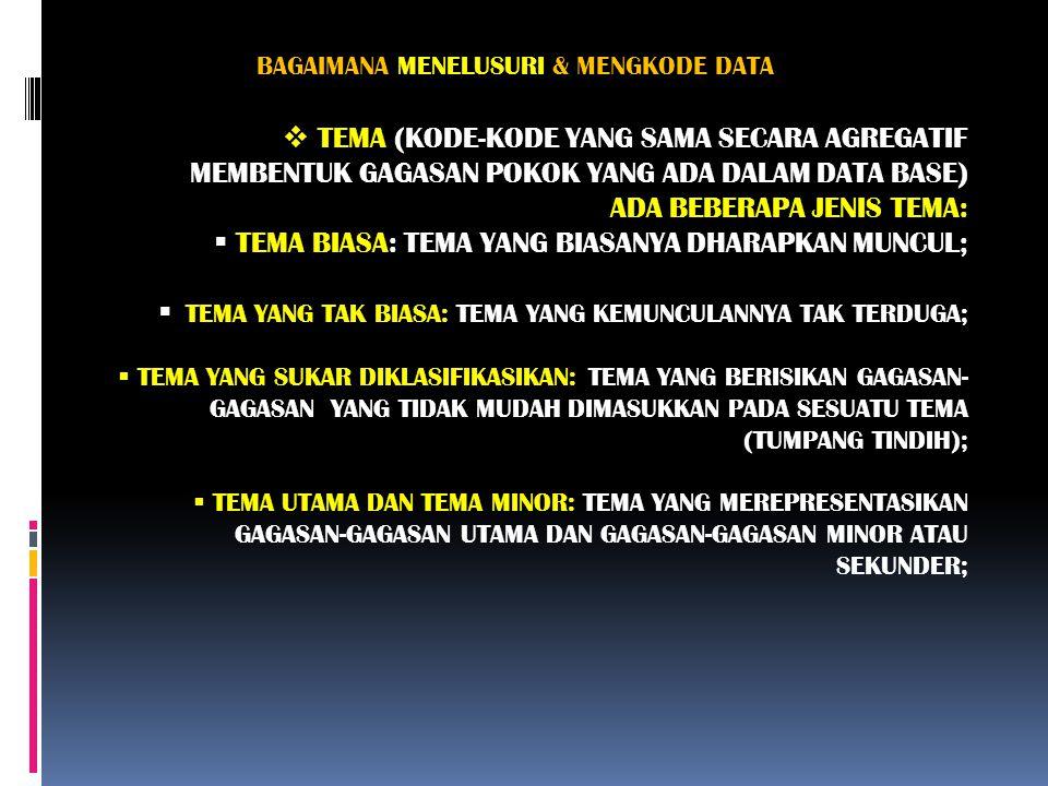 BAGAIMANA MENELUSURI & MENGKODE DATA  TEMA (KODE-KODE YANG SAMA SECARA AGREGATIF MEMBENTUK GAGASAN POKOK YANG ADA DALAM DATA BASE) ADA BEBERAPA JENIS