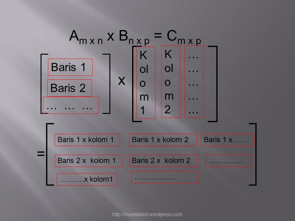 Baris 2 Baris 1 K ol o m 2 Baris 1 x kolom 1Baris 1 x kolom 2 Baris 2 x kolom 1Baris 2 x kolom 2 K ol o m 1 = x … … … ………………………… Baris 1 x……. ……….x ko