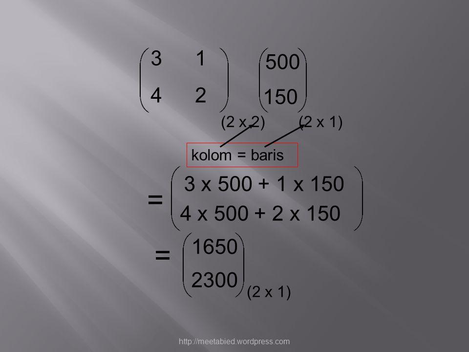 = 31 42 500 150 3 x 500 + 1 x 150 4 x 500 + 2 x 150 = 1650 2300 (2 x 2)(2 x 1) kolom = baris http://meetabied.wordpress.com
