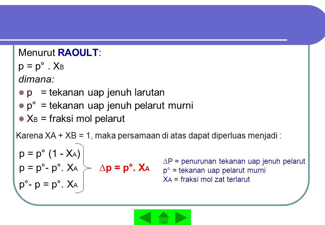 Menurut RAOULT: p = p°. X B dimana: p = tekanan uap jenuh larutan p° = tekanan uap jenuh pelarut murni X B = fraksi mol pelarut Karena XA + XB = 1, ma